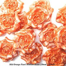 12 Mid Orange Pearl Sugar Roses edible wedding cake cupcake decorations flowers
