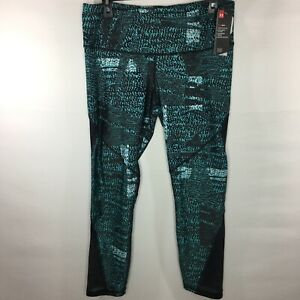 Under Armour Women's XL Heatgear Mesh Print Ankle Crop Green Black 1349749 $54