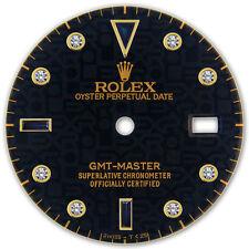 Rolex GMT Master 2 Tone & Yellow Gold Black Jubilee Serti Diamond Sapphire Dial