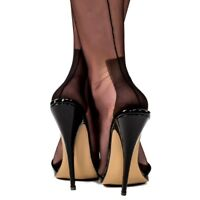NEW GIO FF Fully Fashioned HAVANA HEEL Seamed Stockings BLACK Size 9.5 Medium