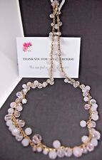"Pink White Glass Beaded Necklace Simulated Goldtone Chain 18"" Fashion Jewelery"