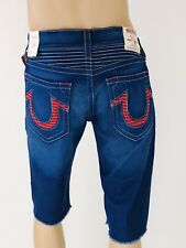 True Religion Men's 38 Distress Blue/red Accents Stretch Cut off Shorts