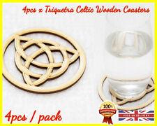 Triquetra Celtic Wooden Coasters x 4 Spiritual Sacred Symbol Coffee Tea Holder