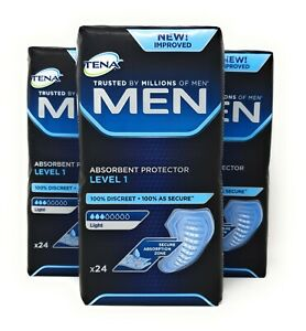 Tena Men Level 1 Absorbent Protector 3 Packs of 24 (72 Total) Incontinence Pads