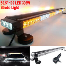 "50"" 102 LED Emergency Warning Double Side Strobe Flash Light Bar Amber Y White"