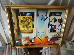 Ferjo Limited Edition Signed/Numbered Framed Giclee Miro and Sunflowers