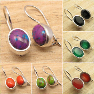 925 Silver Plated Natural GEMSTONE Highly Polished Nouveau Earrings
