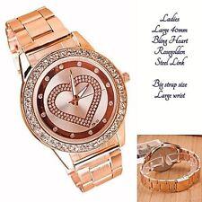Ladies LARGE 40mm Big wrist Band Rosegolden Heart Analog Quartz Wrist watch