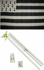 3x5 Bretagne Brittany Flag White Pole Kit Set 3'x5'