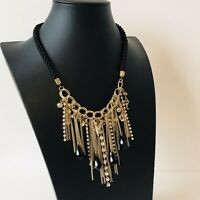 Black Cord Gold Tone Fringe Statement Necklace Costume Jewellery Crown Cross