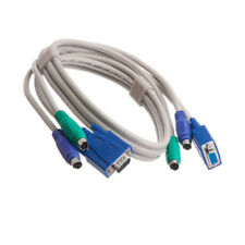 10Ft 3-in-1 KVM Switch Cable - Male PS2 Keyboard Mouse & HD15 VGA Male to Female