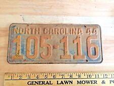 Antique 1944 North Carolina License Plate - car tag - barn find SHIPS WORLDWIDE