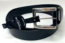 Kenneth Cole New York Mens Belt Black Bench Made Leather Silver Belt Size 42