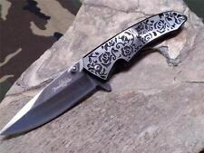 Femme Fatale Spring Assisted Folding Knife Black Rose Textured Ladies Purse 03BK