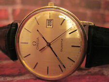Collector quality mens solid 9ct 9k yellow Gold Omega Quartz with new battery
