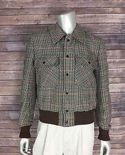 Cortty El Corte Ingles Bomber Coat Jacket 18008 Mens Small Brown Houndstooth
