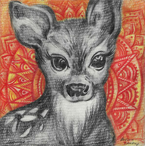 original drawing 20 x 20 cm 107SP art Modern Colored Pencil animal fawn