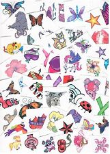 10 x Assorted Girls Temporary Tattoos -  Bulk Party Favours , Stocking Fillers