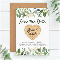 PERSONALISED Eucalyptus Wedding Save The Date Wooden Heart Magnets Boho Vintage