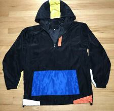 Vintage Windbreaker Jacket 80s 90s Color Block Black Blue Orange Yellow 4XL