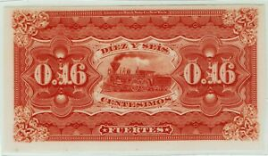Argentina P-S502 back proof. 1875. Beautiful uncirculated but laminated. Train.