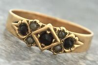 Ladies Antique Victorian 1890s Estate Ruby Seed Pearl 14K Yellow Gold Band Ring