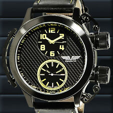 Deporte Dual Time Sutton Mens Watch in Black and Yellow