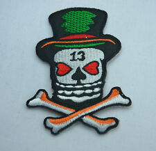IRISH LUCKY SKULL  5x8cm  Embroidered Sew Iron On Cloth JACKET Patch Badge
