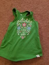 Adidas girls 6x slevless shirt green play like a girl flowers