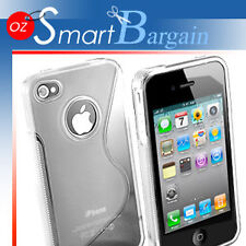 New Clear Soft Gel TPU Cover Case For iPhone 4G + Film