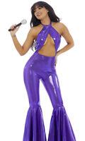 Sexy Forplay Iconic Superstar Metallic Purple Jumpsuit Costume Selena 558775