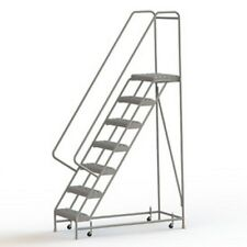 "New! 7 Step Aluminum Rolling Ladder, 24""W Grip Step, 30"" Handrails!"