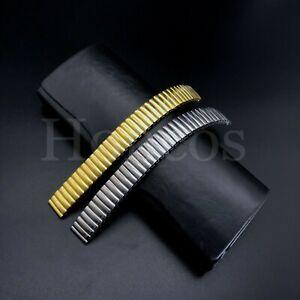 12 - 22 MM Stretch Expansion Steel Watch Band Strap Bracelet Gold Silver Polish