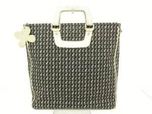 Auth CHANEL Black Beige Gray Cotton Rubber Leather Handbag