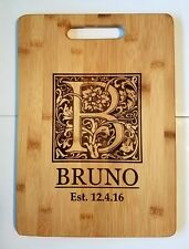 Personalized Monogram Bamboo Cutting Board Wedding Family Christmas Gift 13 3/4""