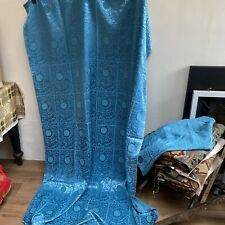 Vintage Retro Turquoise Silky Curtains 46 In Wide By 76 In Long