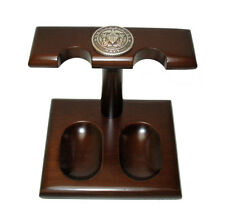 US Navy Silver Logo Solid Wood Rack Stand 2 Pipe For Large Tobacco Pipes NEW