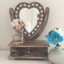Shabby Chic Dressing Table Swivel Mirror Rustic Wooden Vintage Make Up Storage