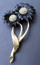 "Rare Vintage Signed LEDO 1961 Rhinestones BLACK CHAMOMILE 4 1/2"" Pin Brooch"