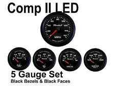 Comp Ii 2 Sport Led 5 Gauge Auto Gauge Meters Black With Black Bezels Made In Usa