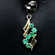 NATURAL GREEN EMERALD TWO TONE STERLING 925 SILVER PENDANT
