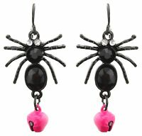 Zest Spider Halloween Earrings with Bell for Pierced Ears Black & Pink