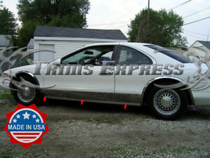 "1993-1998 Lincoln Mark VIII Rocker Panel Molding Trim Door Cover BW 7 3/4"" 6Pc"