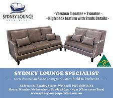 AUSTRALIAN MADE Versace 3 + 2 Sofa Lounge Couch (Studs Detail) Warwick Fabric