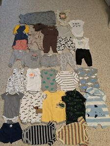 Baby Boy 0-3 Month Mixed Tropical Summer Clothes Lot 30 Pc Carter's
