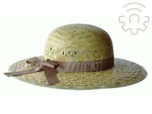 Cappello da donna in paglia naturale falda larga taglia unica made in Italy
