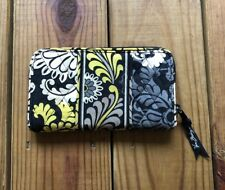 Vera Bradley yellow, black, gray floral paisley quilted zipper fold out wallet