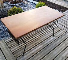 Ancienne table basse bois & métal laiton annees 50 vintage à identifier
