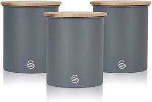 Swan SWKA17513GRYN Nordic Scandi Set of 3 Storage, Tea, Coffee and Sugar Caniste