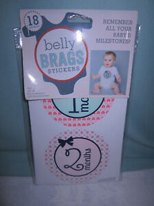 Belly Brags Stickers 18 in All Remember all Your Baby's Milestones New